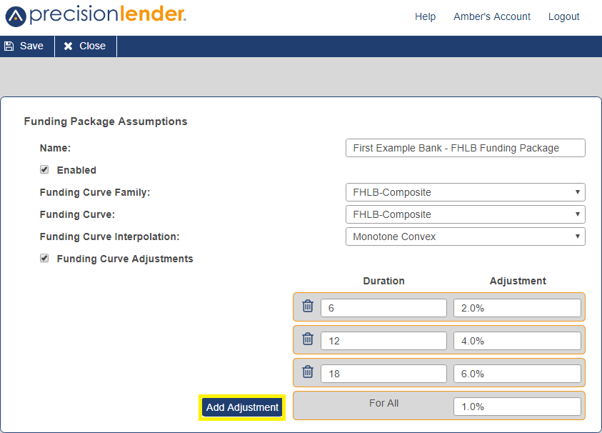 Shows the option to add a funding curve adjustment