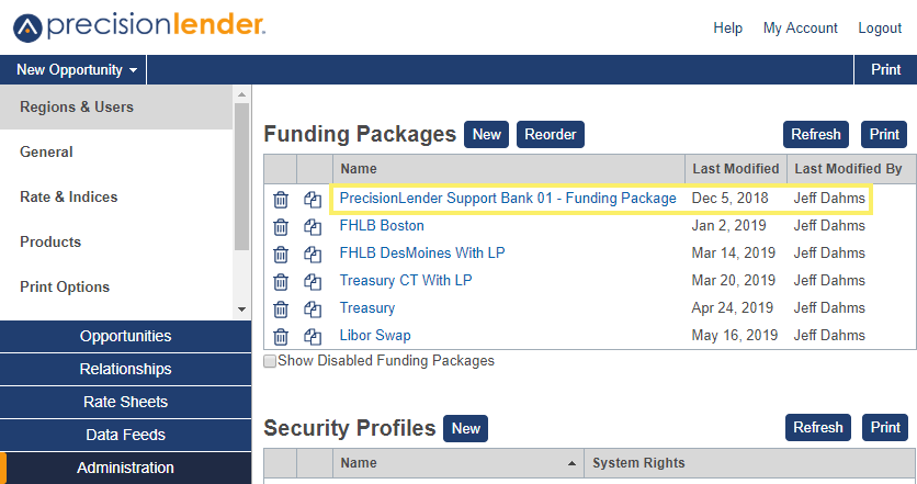 Shows a list of funding packages in Regions and Users section