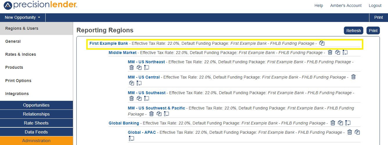 Shows the Reporting Regions section in Administration