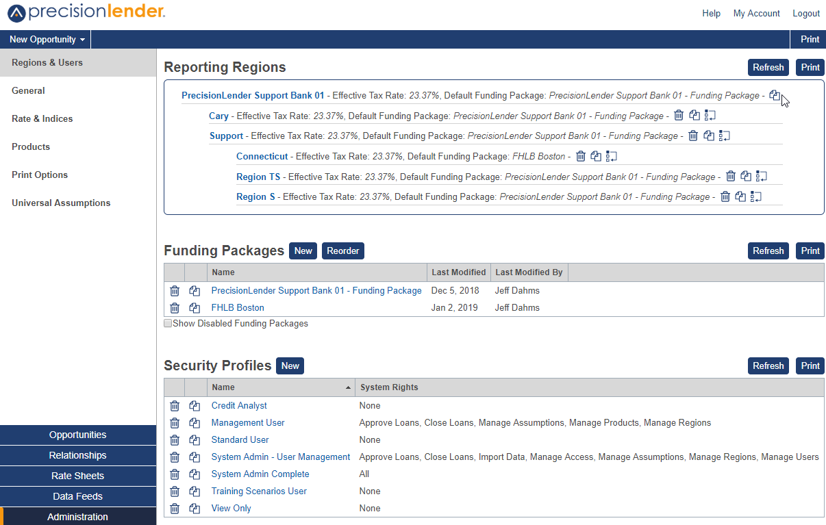Shows Regions and Users section in Administration
