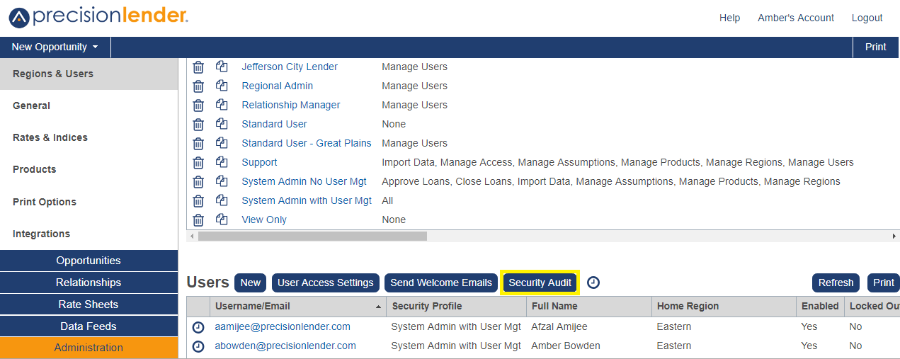 Shows the Security Audit option in the Administration section