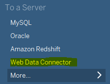 Shows where to select Web Data Connector.