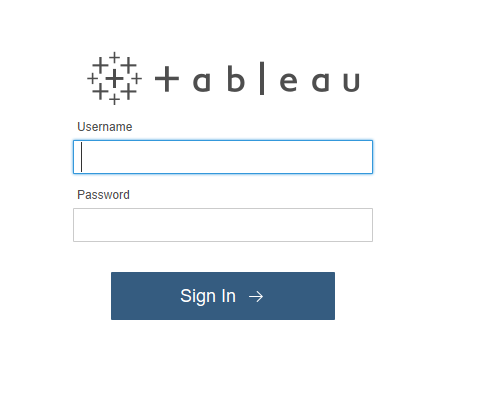 Shows the credential screen for Tableau.