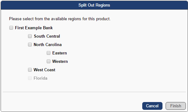 The Split Out Region box shows your regions