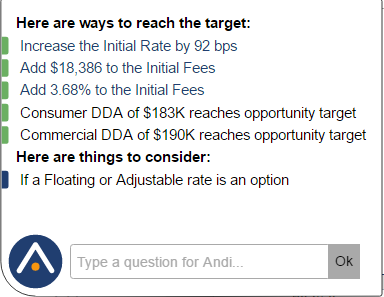 Here are examples of Andi®'s suggestions on ways to reach the target as well as the Ask Andi® box where you can ask Andi® a question