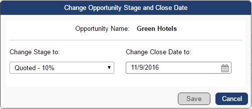 Opportunity Stage and Close Data popup