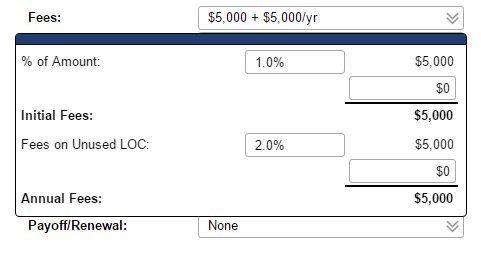 The Fees section also shows fees for unused portions of lines of credit.