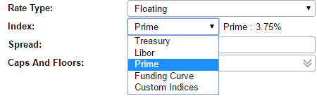 Clicking into the index field lets you set the index.