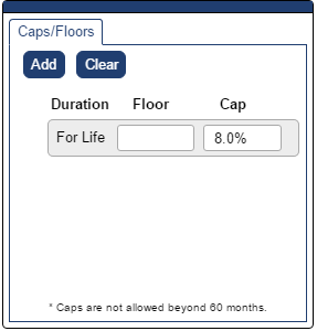 Shows Caps and Floors pop-up with an 8% cap