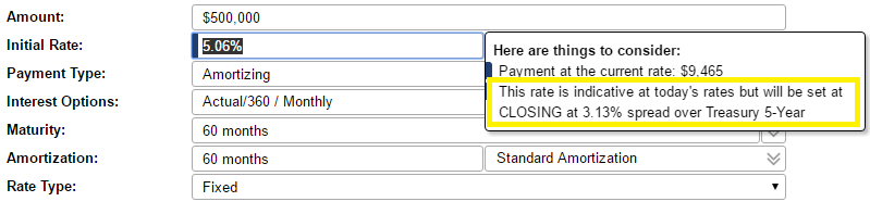 A pop-up shows that your rate will be set at closing.