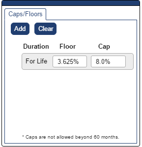 Shows Caps and Floors pop-up depicting a Zero-Cost Collar where Andi will calculate your cap and floor. This example Zero-Cost Collar has a floor of 3.265% and a cap of 8.0%