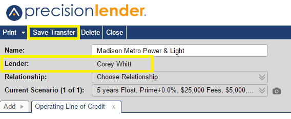 Once you've selected a lender and clicked 'Transfer', the name of the new lender will show up on the opportunity. Remember to click the 'Save Transfer' button in the upper left of the screen to save the changes.