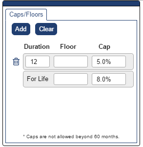 Shows Caps and Floors pop-up with a 12 month cap of 5%, then moving to 8% for the rest of the life of the loan which, in this example, is  60 months