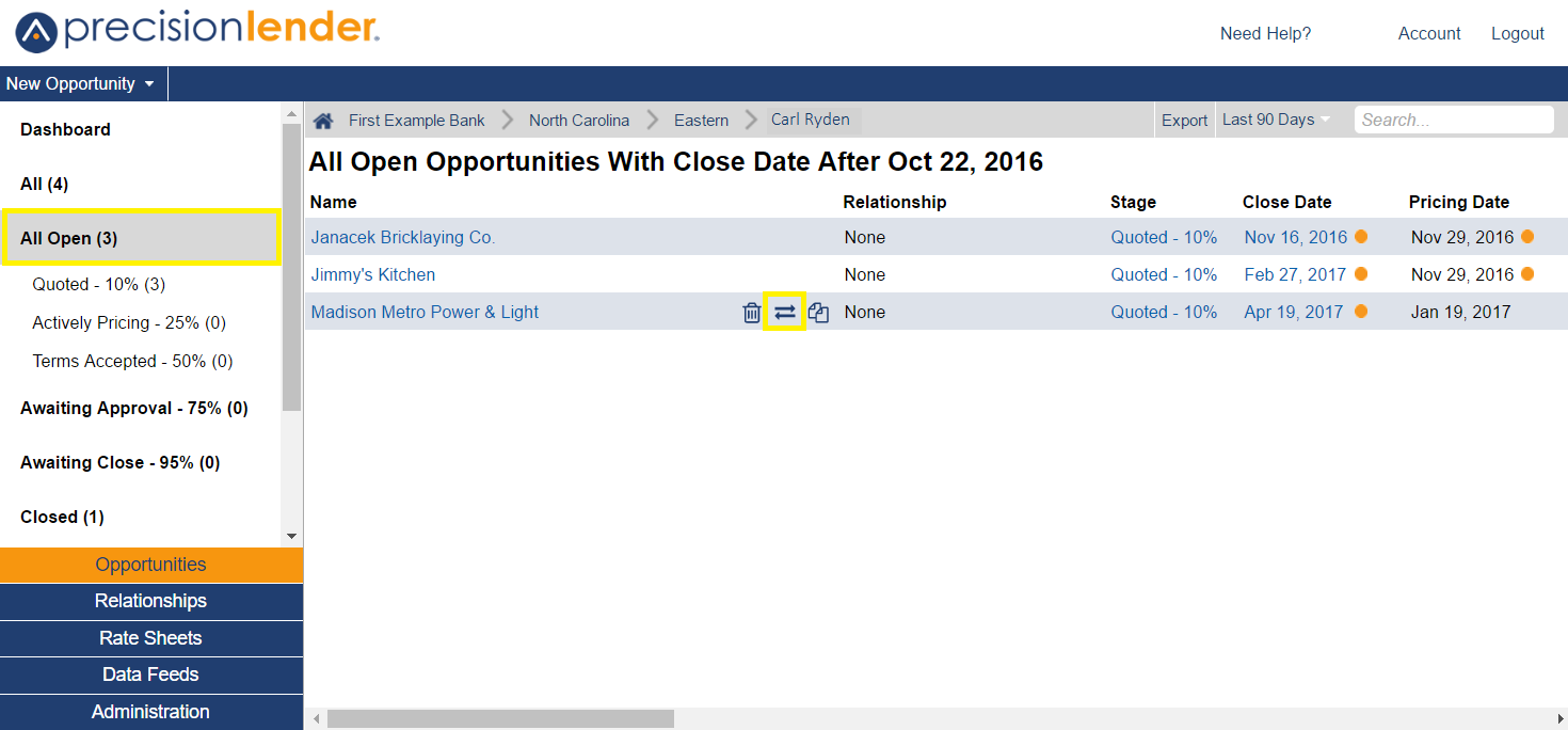 Shows the opportunities grid. When you hover over a specific opportunity, a 'transfer' icon will appear. When you click the icon, you will be able to transfer the opportunity to another lender.