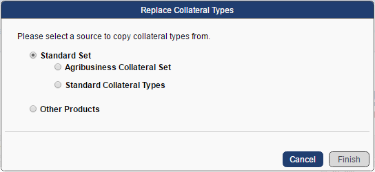 replace collateral with standard set popup